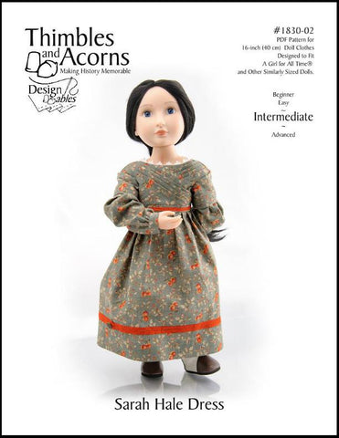 Thimbles and Acorns A Girl For All Time 1830's Sarah Hale Dress Pattern for AGAT Dolls Pixie Faire