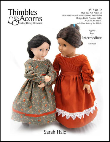 "1830's Sarah Hale Dress Bundle 16"" and 18"" Doll Clothes Pattern"