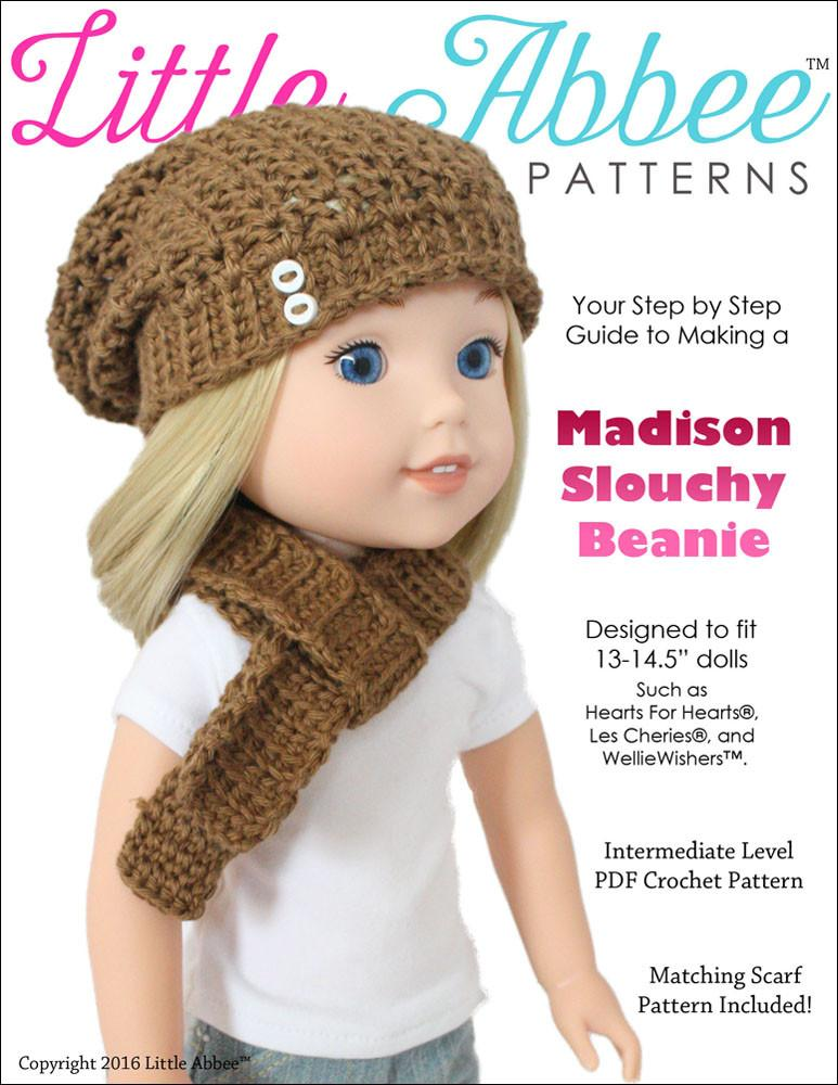 e992d3d9f85 Little Abbee Madison Slouchy Beanie Doll Clothes Crochet Pattern for ...