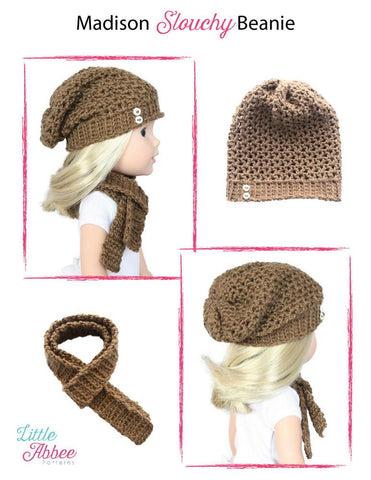 "Madison Slouchy Beanie Crochet Pattern for 13-14.5"" Dolls"