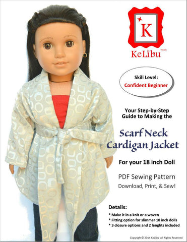 "Scarf Neck Cardigan Jacket 18"" Doll Clothes"