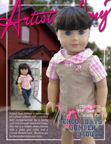 "School Days Jumper and Blouse 18"" Doll Clothes Pattern"