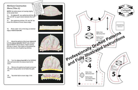 School Girl Dresses Pattern for Kidz N Cats Dolls