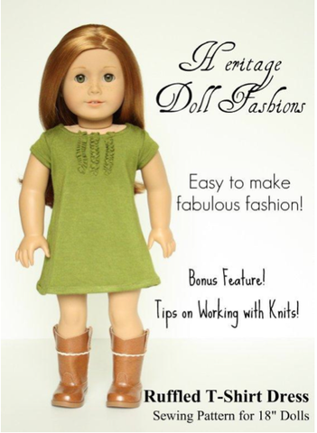 "Heritage Doll Fashions 18 Inch Modern RuffledT-Shirt Dress 18"" Doll Clothes Pattern Pixie Faire"
