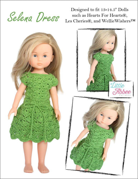 Little Abbee Selena Dress Doll Clothes Crochet Pattern For