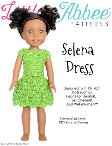 "Selena Dress Crochet Pattern for 13-14.5"" Dolls"