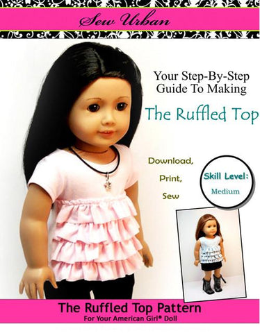 "Sew Urban 18 Inch Modern Ruffled Top 18"" Doll Clothes Pattern Pixie Faire"
