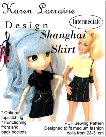 "Shanghai Skirt Pattern for 9 -11-1/2"" Fashion Dolls"