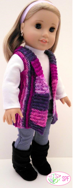 Sweet Pea Fashions Crocheted Shawl Collar Vest Doll