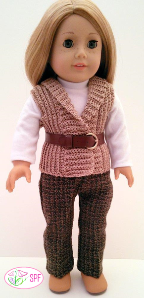 Sweet Pea Fashions Crocheted Shawl Collar Vest Doll ...