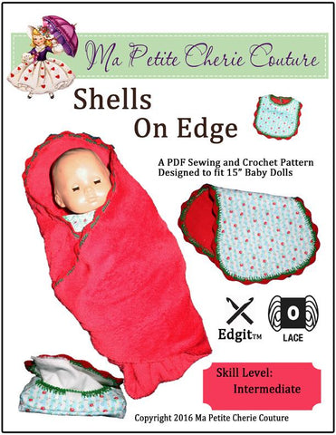 "Shells on Edge Sewing and Crochet Pattern 15"" Baby Doll Clothes"