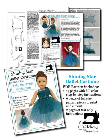 "Shining Star Ballet Costume 18"" Doll Clothes Pattern"