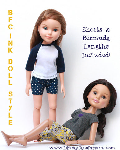 Capri and Shorts Pattern for BFC, Ink. Dolls