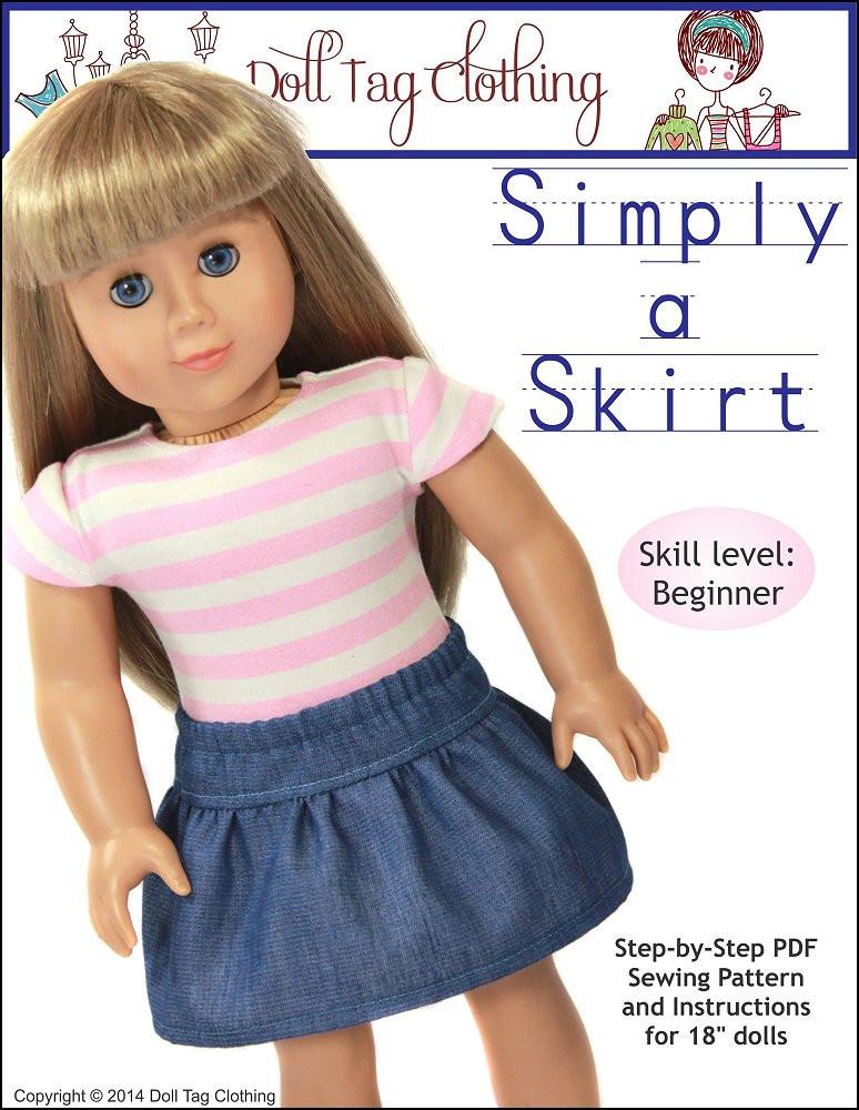 Simply A Skirt 18 Inch Doll Clothes Pattern PDF Download | Pixie Faire