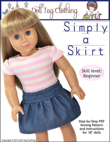 "Doll Tag Clothing 18 Inch Modern Simply A Skirt 18"" Doll Clothes Pixie Faire"