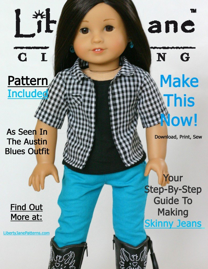 366b81a5a637 Skinny Jeans 18 inch Doll Clothes Pattern PDF Download