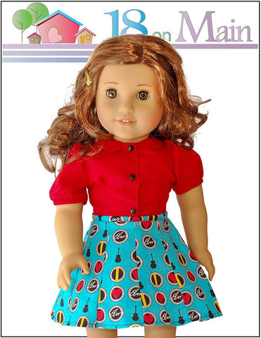 "Skip to My Lou Skirt Set 18"" Doll Clothes Pattern"