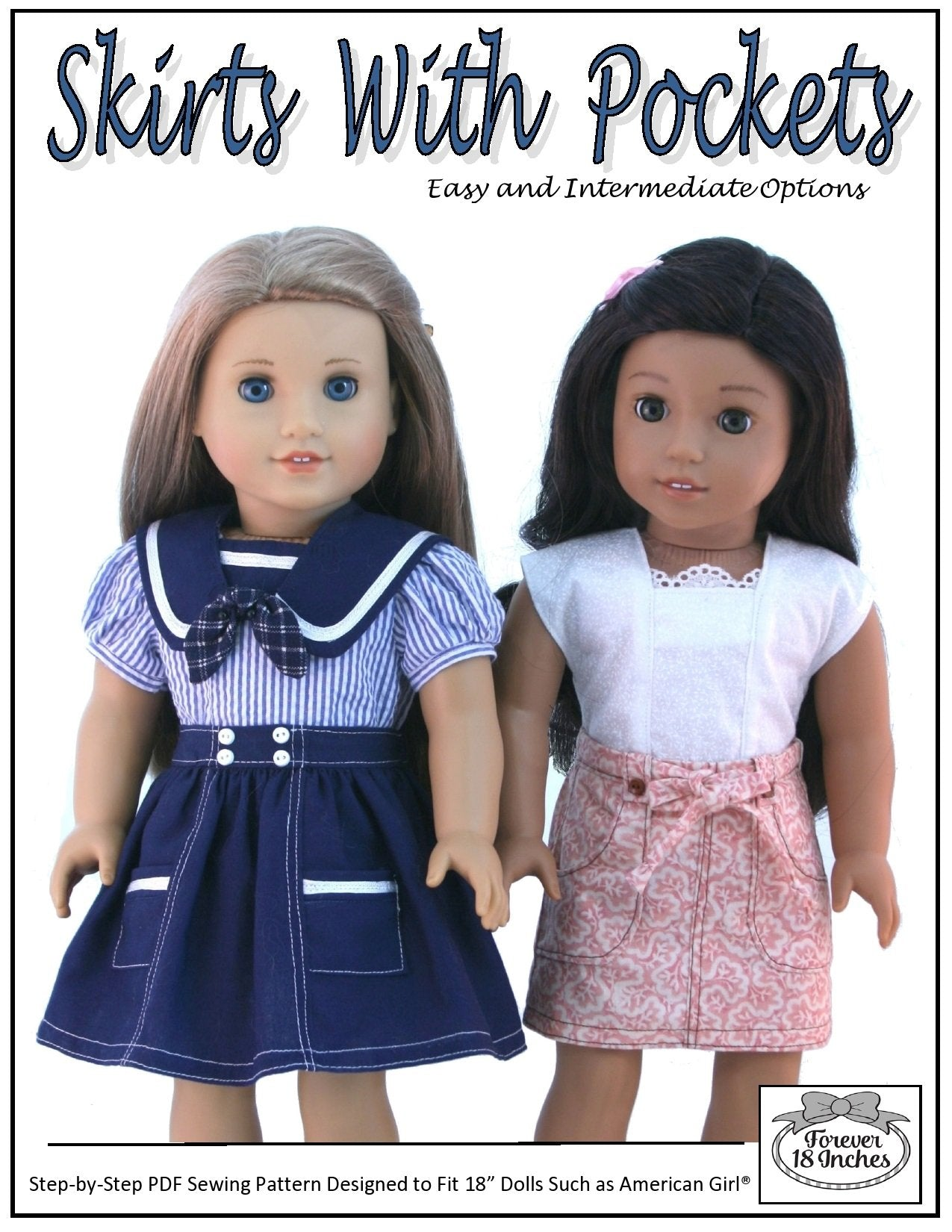 27d41e83072 pdf doll clothes sewing pattern Forever 18 Inches skirts with pockets  designed to fit 18 inch ...