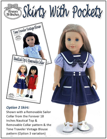 pdf doll clothes sewing pattern Forever 18 Inches skirts with pockets  designed to fit 18 inch American Girl dolls
