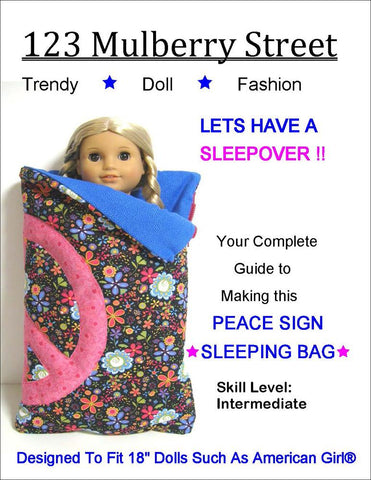 "Peace Sign Sleeping Bag 18"" Doll Accessory Pattern"