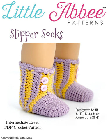 Little Abbee Crochet Slipper Socks Crochet Pattern Pixie Faire