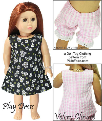 "Doll Tag Clothing 18 Inch Modern Slumberland 18"" Doll Clothes Pattern Pixie Faire"