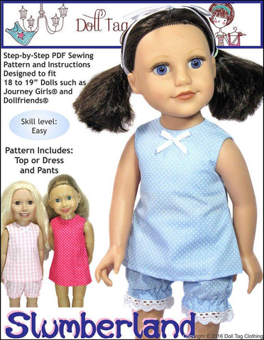 "Slumberland Pattern for 18"" - 19"" Slim Dolls"
