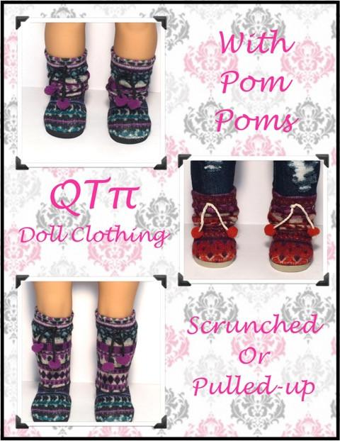 """Pink Print Knit Boot Shoes w//Pom Poms fits 18/"""" American Girl Doll Clothes"""