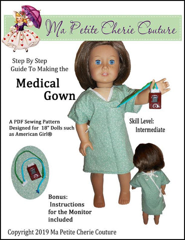 "Mon Petite Cherie Couture 18 Inch Modern Medical Gown 18"" Doll Clothes Pattern Pixie Faire"