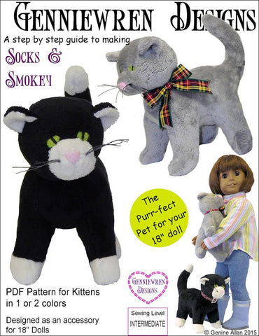 "Genniewren 18 Inch Modern Socks & Smokey 18"" Doll Pet Pattern Pixie Faire"
