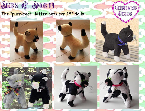"Socks & Smokey 18"" Doll Pet Pattern"