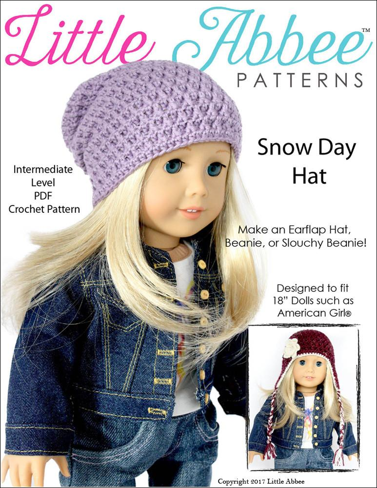 Little Abbee Snow Day Hat Doll Clothes Crochet Pattern 18 Inch