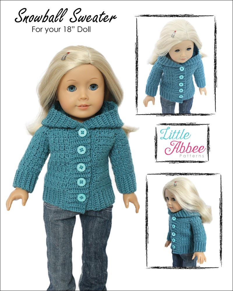 Little Abbee Snowball Sweater Doll Clothes Pattern 18 inch American ...