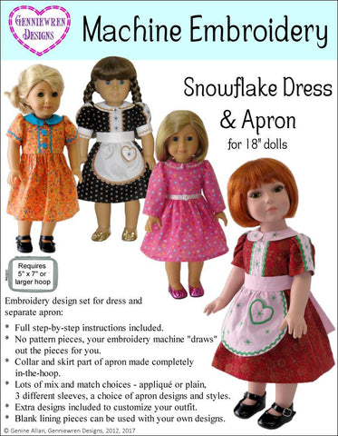 Snowflake Dress & Apron Machine Embroidery Design