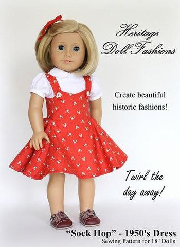 "1950's Sock Hop Dress 18"" Doll Clothes Pattern"