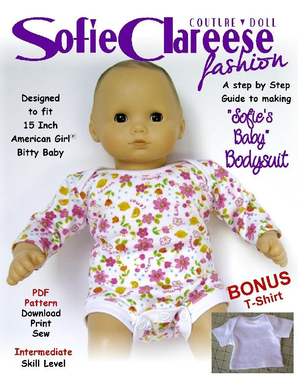 Sofie s Baby Onesie 15 inch Doll Clothes PDF Pattern Downlload ... a4b171e62