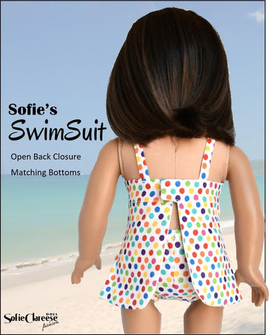 "Sofie's ""Just for Wovens"" Swimsuit and Coverup 18"" Doll Clothes Pattern"