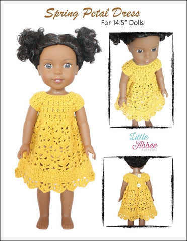 "Spring Petal Dress 14.5"" Doll Clothes Crochet Pattern"