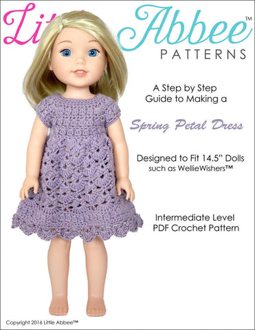 Spring Petal Dress Crochet Pattern for WellieWishers Dolls