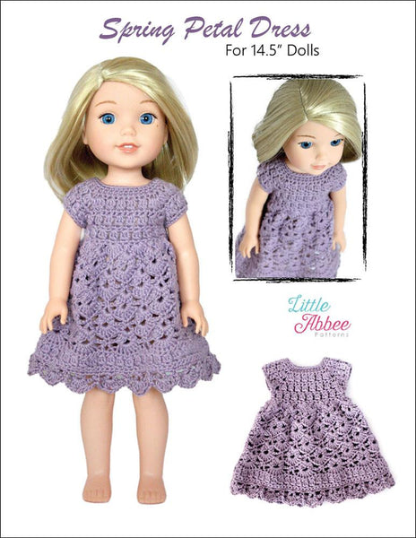 Little Abbee Spring Petal Dress Doll Clothes Crochet Pattern for WellieWisher...