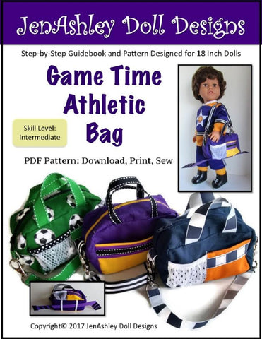 "Jen Ashley Doll Designs 18 Inch Modern Game Time Athletic Bag 14-18"" Doll Accessory Pattern Pixie Faire"