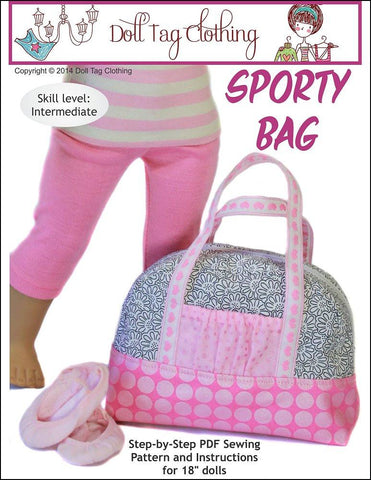 "Doll Tag Clothing 18 Inch Modern Sporty Bag 18"" Doll Accessory Pattern Pixie Faire"