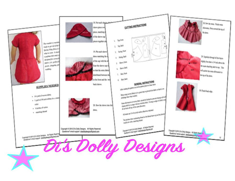 "Spring Fling Dress 18"" Doll Clothes Pattern"