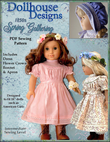 "Dollhouse Designs 18 Inch Historical 1850s Spring Gathering 18"" Doll Clothes Pattern Pixie Faire"
