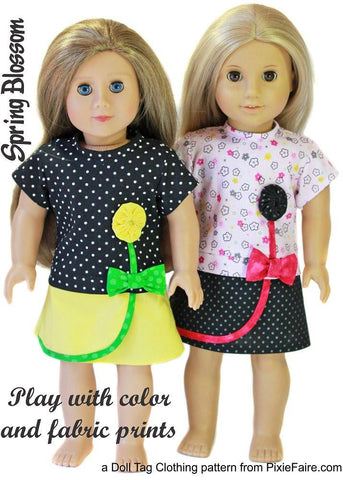 "Spring Blossom 18"" Doll Clothes Pattern"