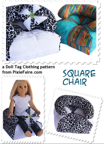 "Doll Tag Clothing 18 Inch Modern Square Chair for 18"" Dolls Pixie Faire"