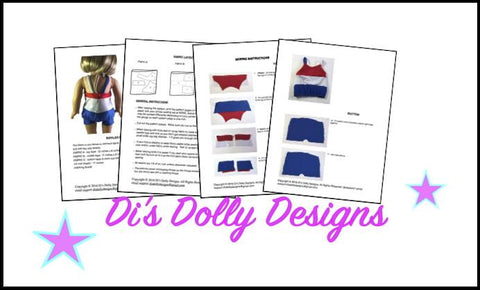 "Di's Dolly Designs 18 Inch Modern Seashore Swimsuit 18"" Doll Clothes Pixie Faire"