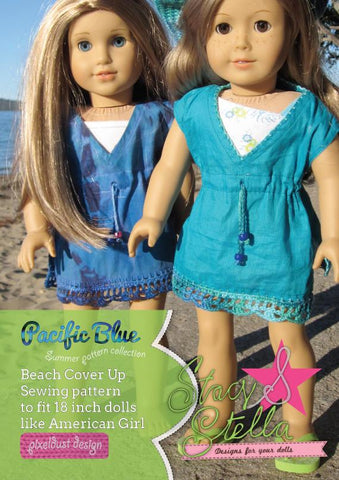 "Stacy and Stella 18 Inch Modern Beach Cover Up 18"" Doll Clothes Pattern Pixie Faire"