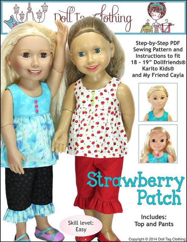 "Strawberry Patch Pattern for 18"" - 21"" Doll Clothes Pattern"