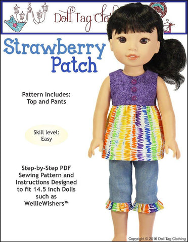 "Strawberry Patch 14.5"" Doll Clothes Pattern"